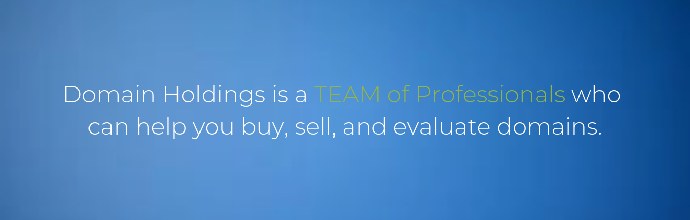 Domain Holdings is a Team of Professionals who can help you